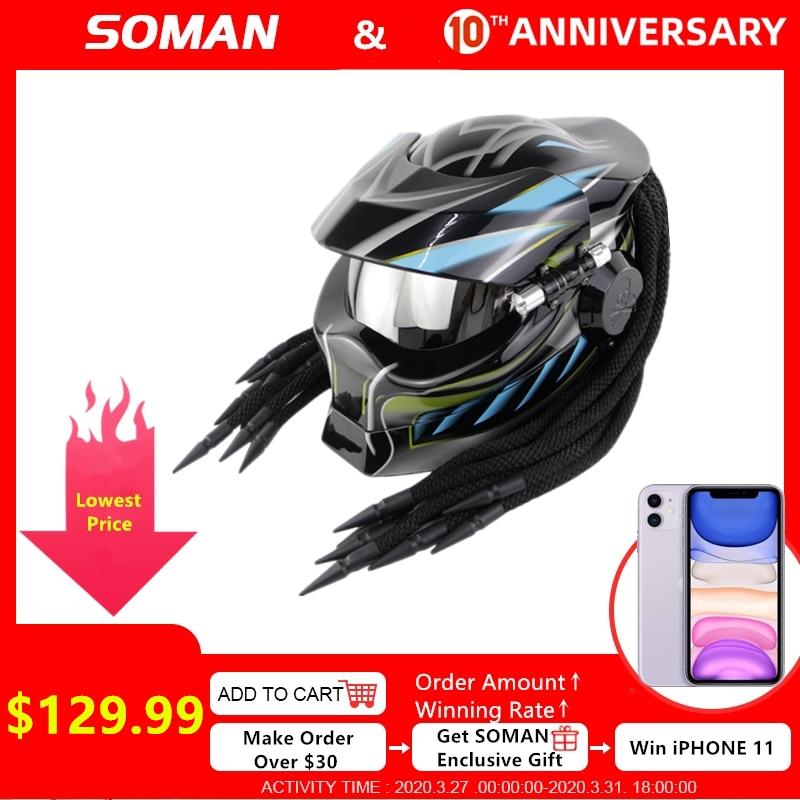 SOMAN Predator Helmet Retro Casque Black Full Face Motorcycle Helmet With Braid Cool Motorbike Flip Up Capacetes Vintage Helmets