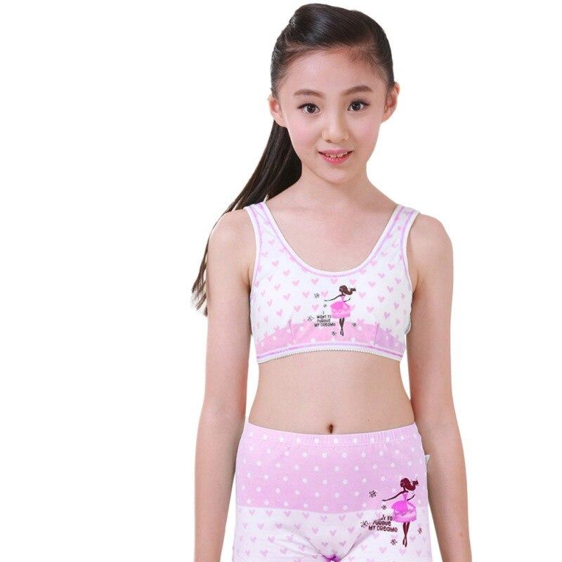 Kids Clothing Puberty Young Girls Cozy Undies Teenagers Cotton Yoga Underwear Set Training Bras Camisole Vest Top+Panties
