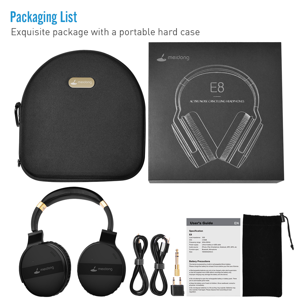 COWIN E8A ANC Noise Cancelling Over ear Headphones Wireless Bluetooth Headset 20 Hrs Music Gaming Computer Travel Headphone - 5