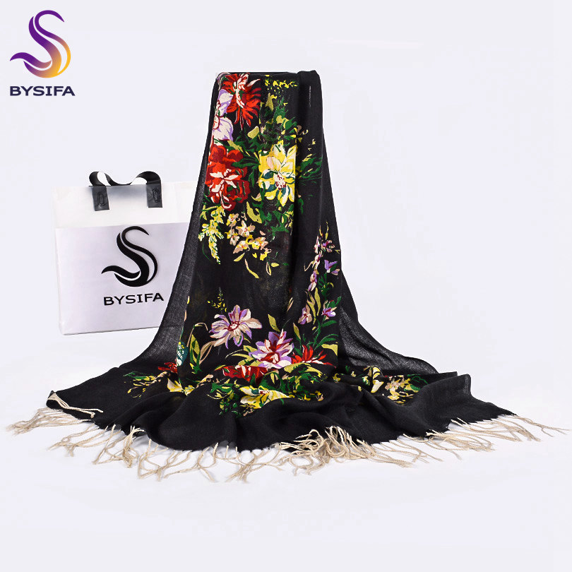 [BYSIFA] Women Black Pure Wool Scarves Wraps New Floral Style Winter Ladies Long Scarves Pashmina Brand Tassel Neck Scarf Shawl