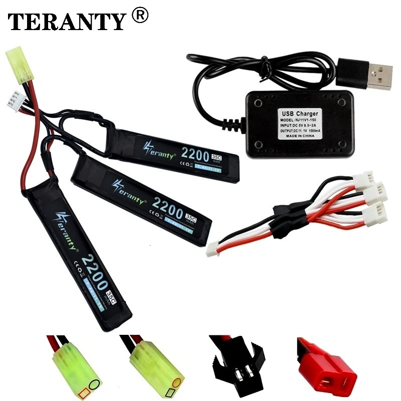 3S Water Gun Lipo Battery 11.1V 2200mAh 35C 102mm for AKKU Mini Airsoft BB Air Pistol Electric Toys <font><b>RC</b></font> Parts With <font><b>USB</b></font> Charger image