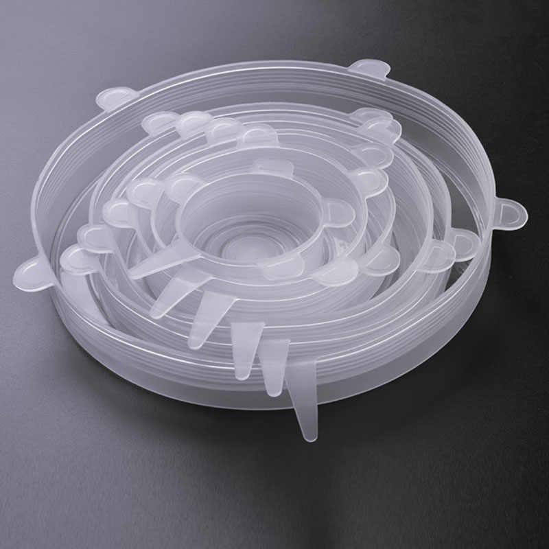 6 Pçs/set Capa de Silicone Manter Fresco Reutilizável Filme Embrulhar Alimentos Trecho Elástico Selo Tampa Transparente Acessórios de Cozinha