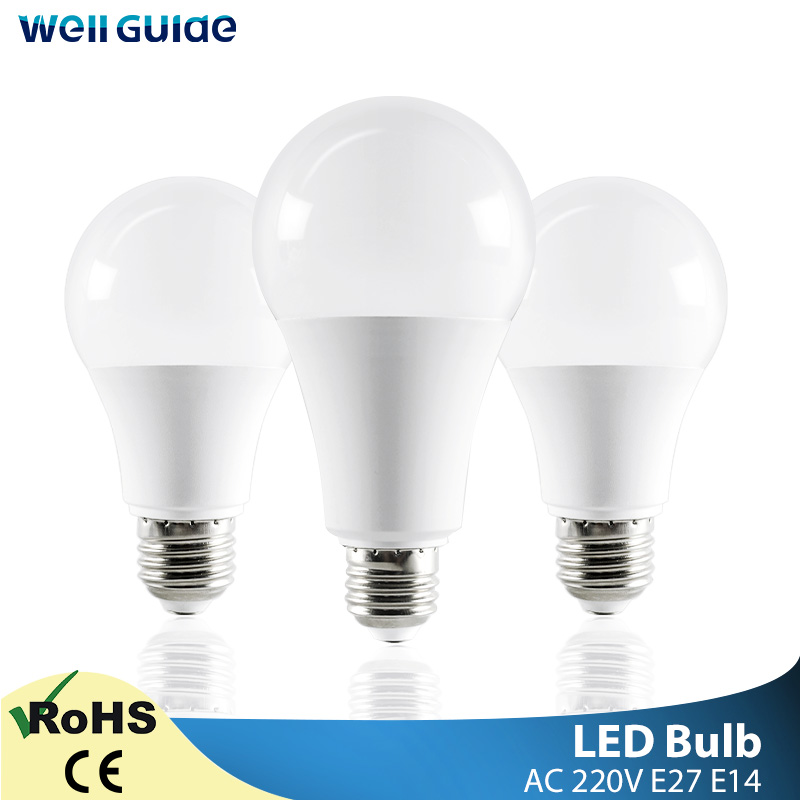 LED Bulb E14 E27 LED Lamps Light 3W 6W 9W 12W 15W 18W 20W AC 220V 230V 240V White lampara Aluminum Table Lamps light Bombillas