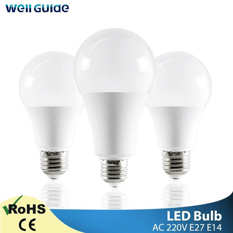 LED Bulb E14 E27 LED Lamps Light 3W 6W 9W 12W 15W 18W 20W AC 220V 230V 240V White lampara Aluminum Table Lamps light Bombillas