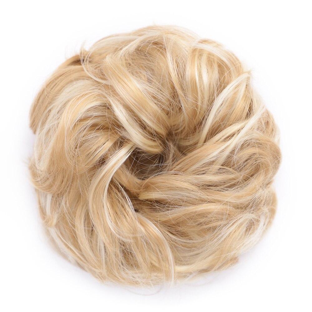 Пучок волос кудрявый Dount Updo синтетические Scruchies эластичный зажим в шиньон для наращивания шиньон аксессуары для волос Термостойкое волокно - Цвет: 27H613