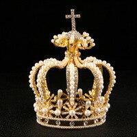 JaneVini Luxury Baroque Round Crowns Gold Pearl Metal Headband Vintage Women Hair Jewelry Silver Crystal Rhinestone Headpieces