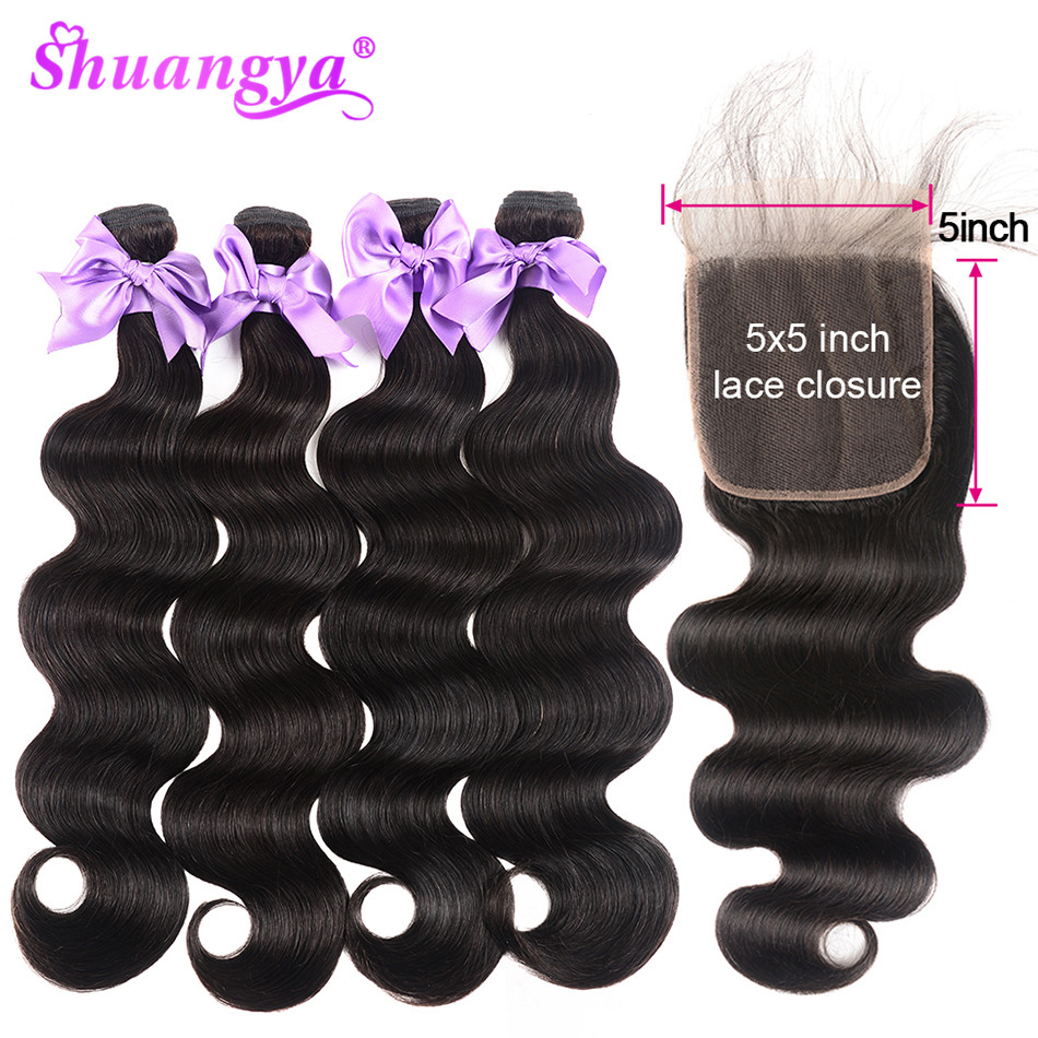 Body Wave Bundles With 5x5 Closure Free/Middle/Three Part Peruvian Bundles With Closure Human Hair Bundles Remy Hair Extensions