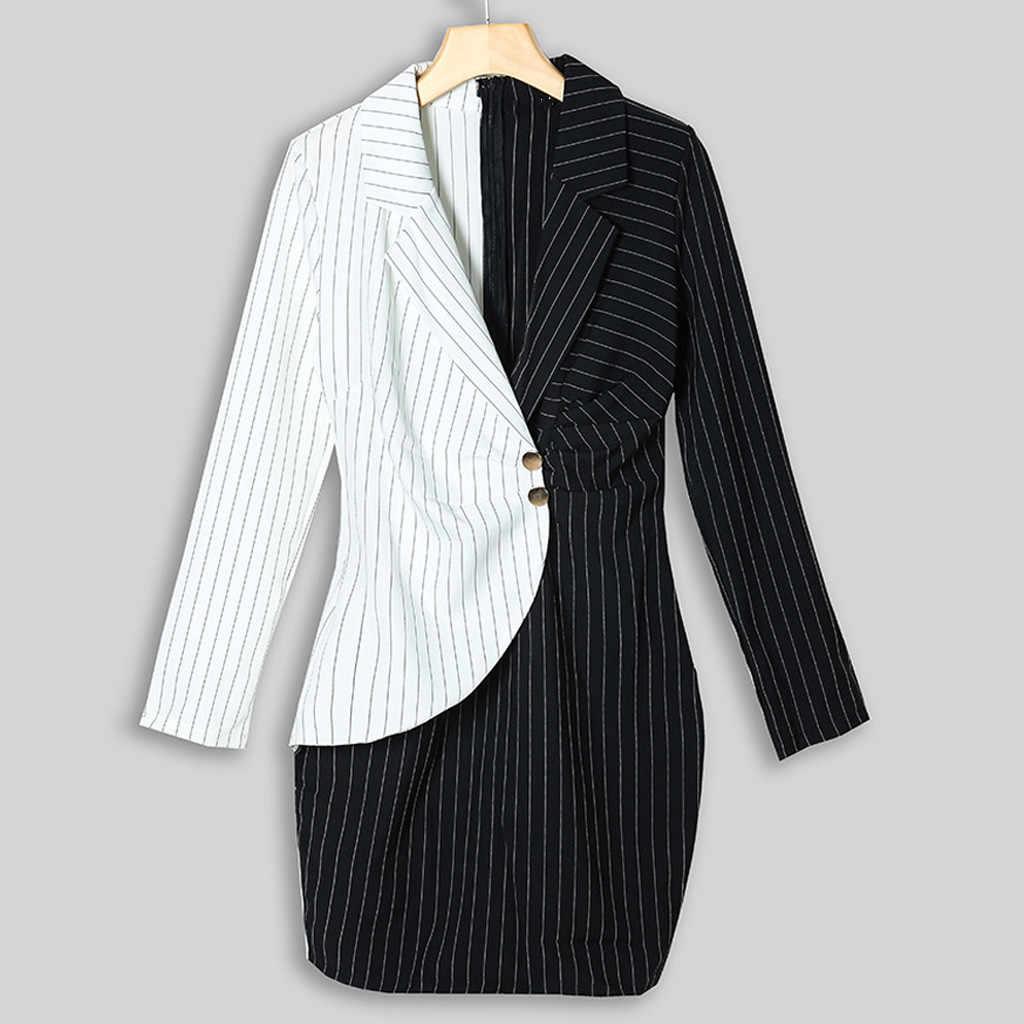 ผู้หญิง Blazer ชุดทำงานเปิดลงคอแขนยาวลาย Patchwork เย็บสะโพก Casual Bodycon Dress 2019 M840 #
