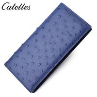 Man Wallet High Quality Long Ostrich Leather Money Huge Capacity Purse Key Credit Card Holder Bag Interior Slot Pocket