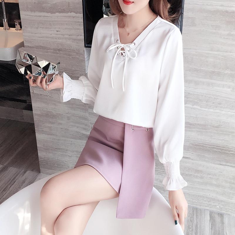 Set WOMEN'S Dress 2019 Autumn Fashion New Style Flounced Sleeves V-neck Chiffon Blouse Skirt Two-Piece Set Wholesale 9123