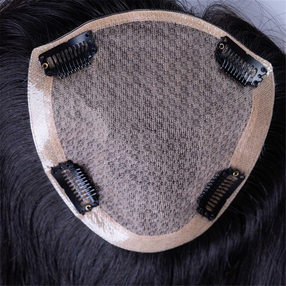 Peluca Addbeauty de encaje tupé de poliuretano para mujer, extensión de volumen, pelo humano liso Remy, Natural, doble nudo, duradero
