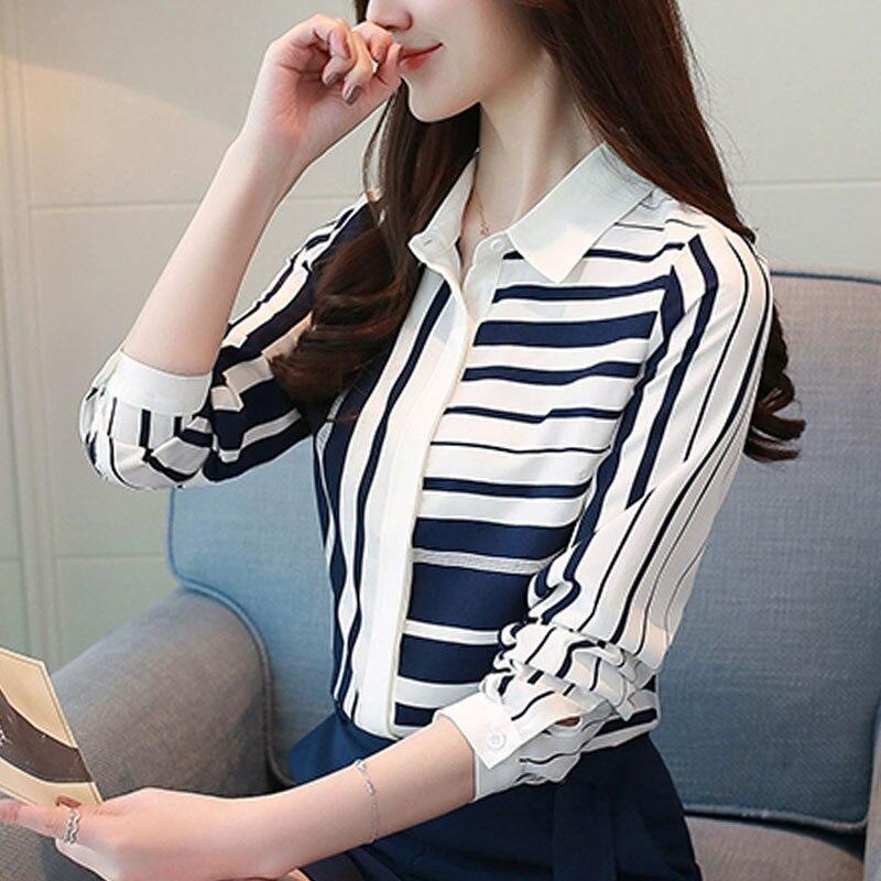 long-sleeved chiffon blouse striped 1