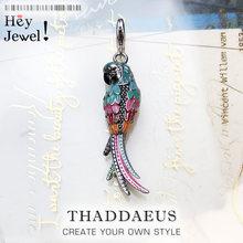 Pendentif perroquet coloré en argent Sterling 925, breloque, bijoux d'été à la mode, cadeau pour femmes et hommes, 2019