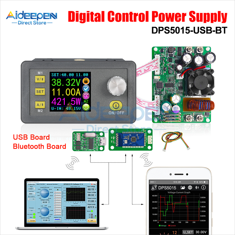 <font><b>DPS5015</b></font> 50V <font><b>15A</b></font> Communication Constant Voltage Current DC Step-down Power Supply Module Buck Voltage Converter LCD Voltmeter image