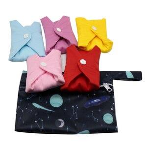 Image 2 - Gute Qualität Mama Tuch Pads Bambus Waschbar Sanitär Servietten 5 PCS MIT einem beutel
