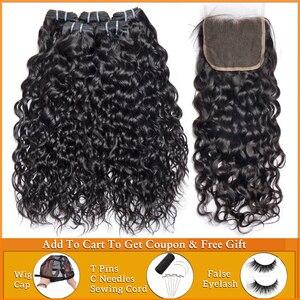 Image 1 - lanqi Peruvian hair bundles with closure nonremy human hair weave bundles with closure Brazilian water wave bundles with closure
