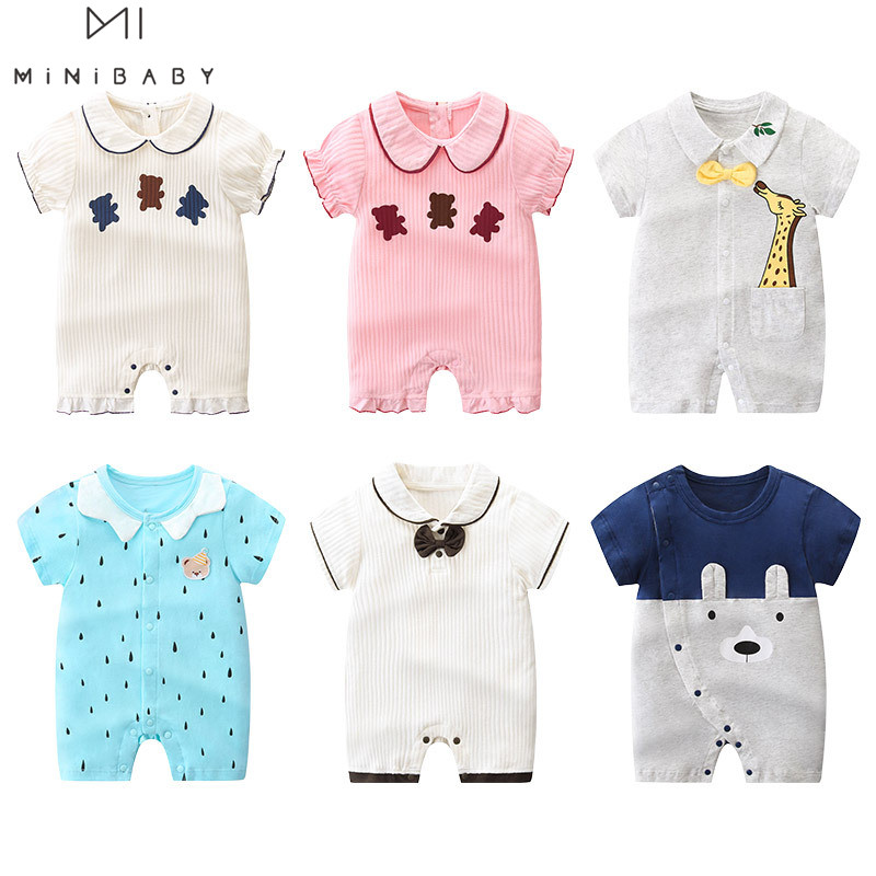2020 Brand Summer Romper  Short Sleeve Korean Style Girl Baby Clothing Cotton Newborn Clothes Imported Aliexpress Baby Rompers