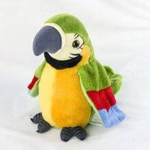 Bonito falando papagaio brinquedo elétrico falando papagaio recheado de pelúcia pássaro repetir o que você diz crianças presentes de aniversário do bebê