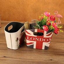 Cesta de almacenamiento de estilo británico Vintage, cesta de almacenamiento de escritorio para oficina, bolsa de PU, diversos productos para tocador, cesta organizadora de cosméticos