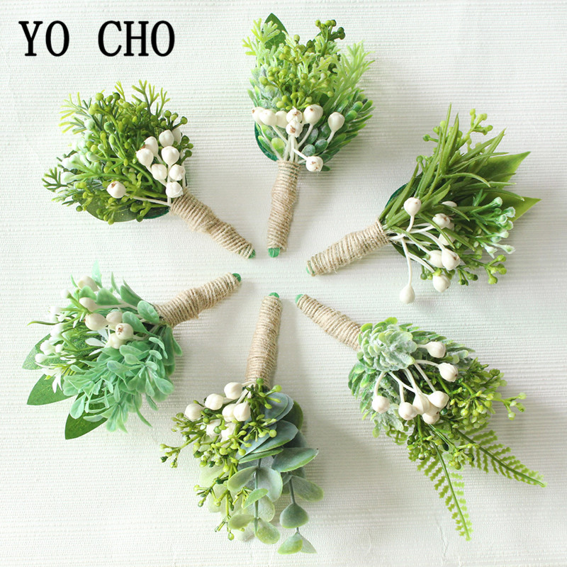 YO CHO Wrist Corsage Christmas Berries Wedding Boutonniere Forest Style Girl Bracelet Eucalyptus Leaves Men Wedding Boutonnieres