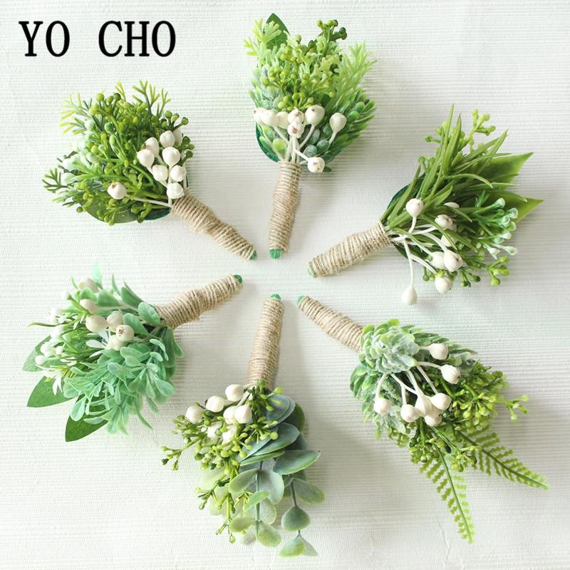 YO CHO Wrist Corsage Christmas Berries Wedding Boutonniere Forest Style Girl Bracelet Eucalyptus Leaves Men Wedding Boutonnieres