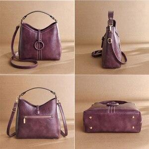 Image 4 - ヴィンテージ本革の高級ハンドバッグの女性のバッグデザイナーハンドバッグ高品質のクロスボディバッグ 2019 女性のハンドバッグ