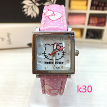 hello kitty High quality children watch fashion cute kt cat square shell noodles