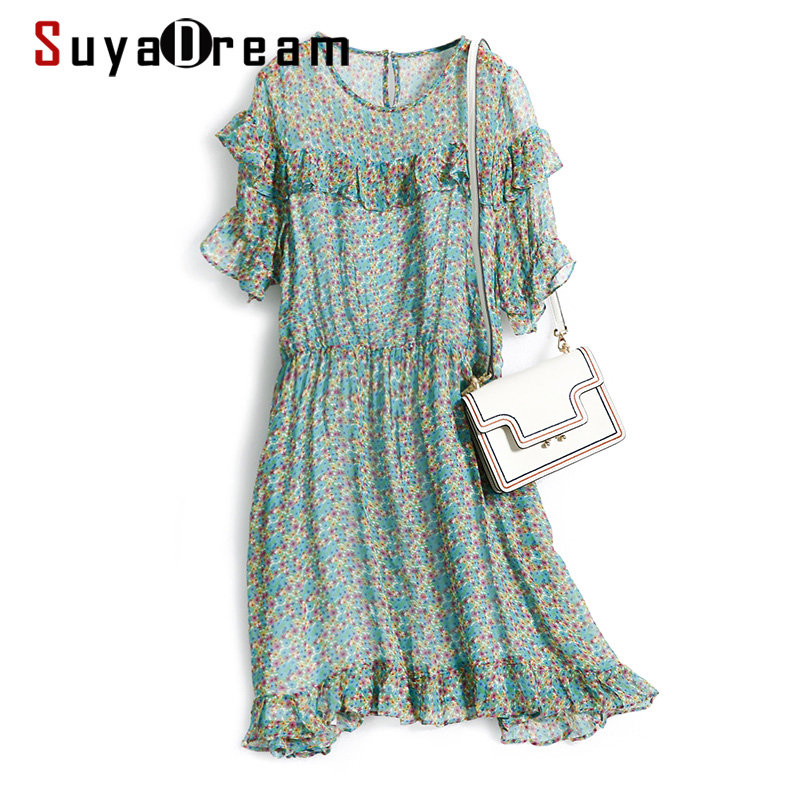 SUYADREAM Floral Dress 100%Silk Georgette Ruffles Boho Dresses For Women 2020 Summer Print Mini Dress