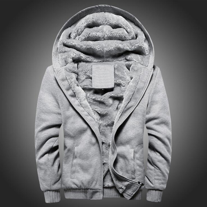 2019 New Men's Solid Color Thick Hoodie Jacket Autumn And Winter Korean Zipper Sports Plus Velvet Thick Warm Men's Jacket