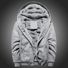 2019 new mens Solid color thick hoodie jacket autumn and winter Korean zipper sports plus velvet warm