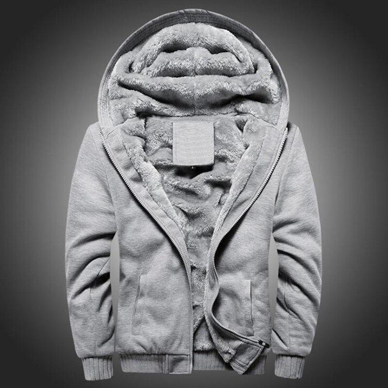 2020 New Men's Solid Color Thick Hoodie Jacket Autumn And Winter Korean Zipper Sports Plus Velvet Thick Warm Men's Jacket