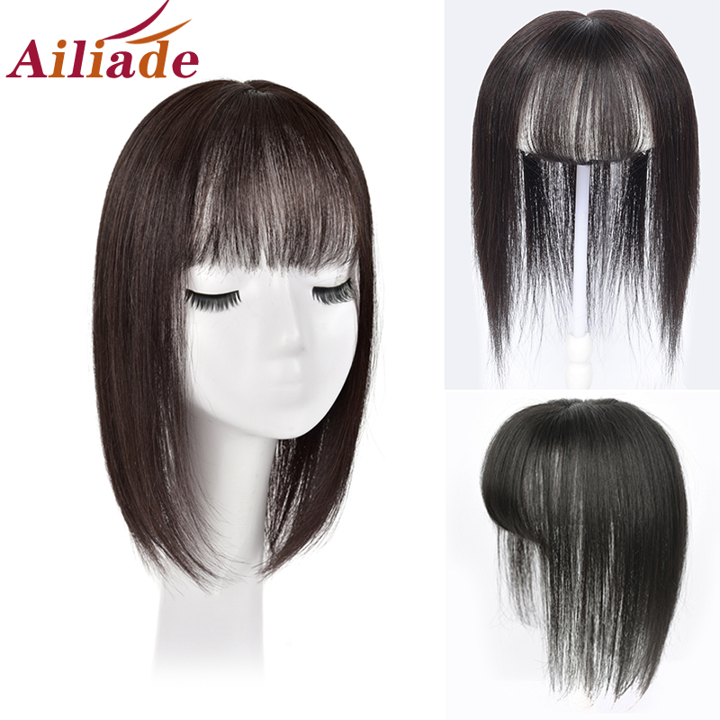 Hair-Topper Hair-Extension Bangs Natural-Color Straight One-Piece Women Human Long 3-Clips