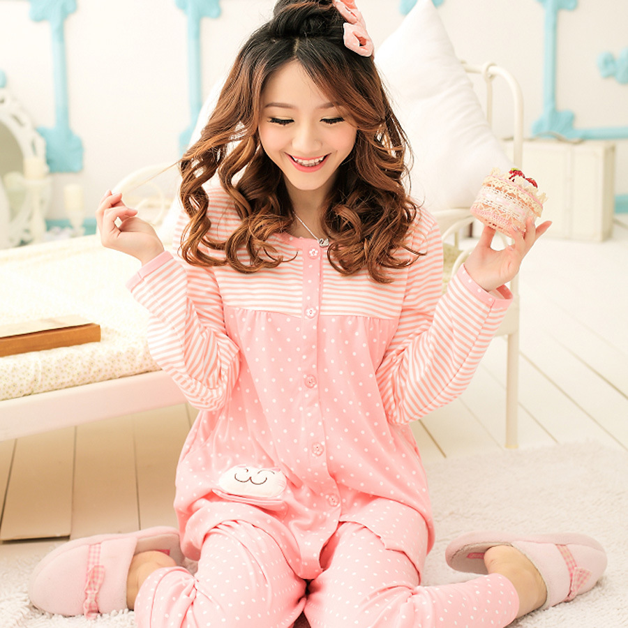 Spring And Autumn Confinement Clothing Pure Cotton Postpartum Pregnant Women Nursing Pajamas Cardigan Tracksuit Nursing Nursing