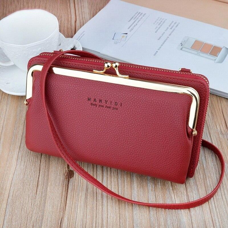 Высококачественная сумка для телефона из искусственной кожи, вместительная Портативная сумка через плечо для путешествий, Брендовая женск...