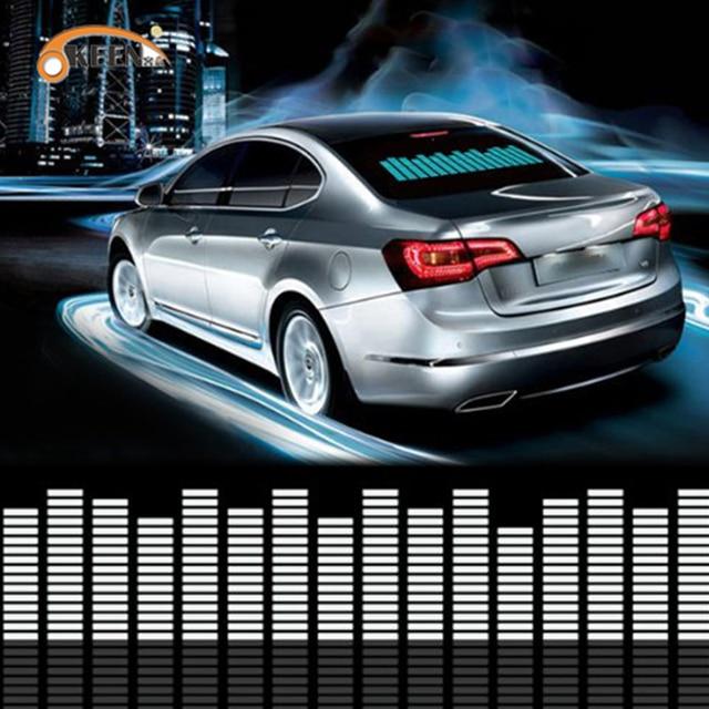 Car Blue LED Music Rhythm Flash Light Sound Activated Sensor Led Equalizer Car Rear Windshield Sticker Styling Neon Lamp Kit