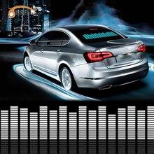 רכב כחול LED מוסיקה קצב פלאש אור סאונד הופעל חיישן Led אקולייזר רכב מדבקת שמשה אחורית סטיילינג ניאון מנורת ערכה