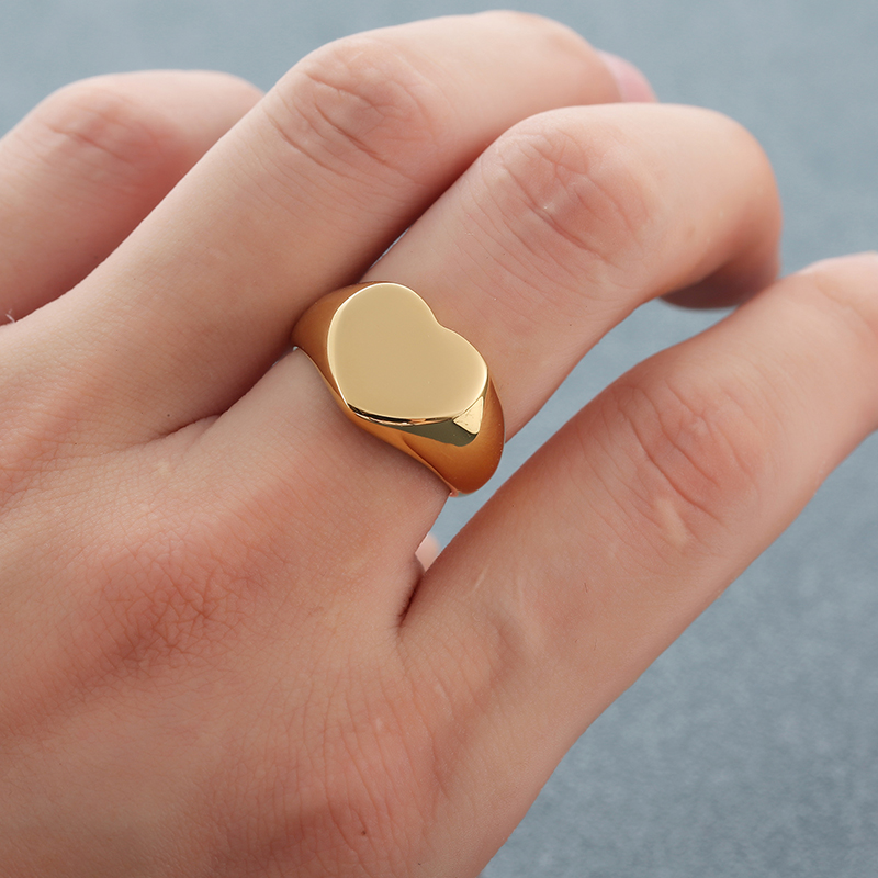 Custom Name Rings Heart Signet Ring Personalized Stainless Steel Engraved Ring Gold Romantic Gift For Women Couple Lover Jewelry