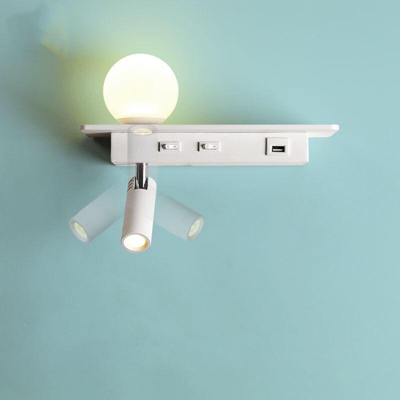 Настенный светильник, лампа для чтения, светодиодный прикроватный светильник для спальни с usb-портом, полка, Беспроводная зарядка на стену номера отеля, лампа