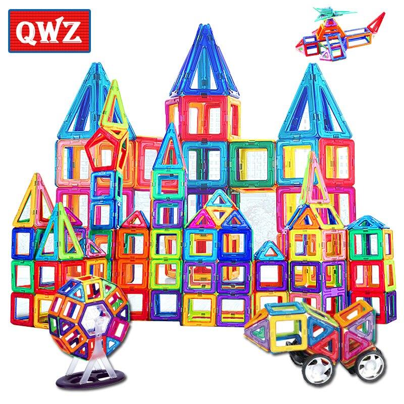 QWZ büyük boy manyetik tasarımcı inşaat seti modeli ve bina oyuncak mıknatıslar manyetik bloklar eğitici oyuncaklar çocuk hediyeler için
