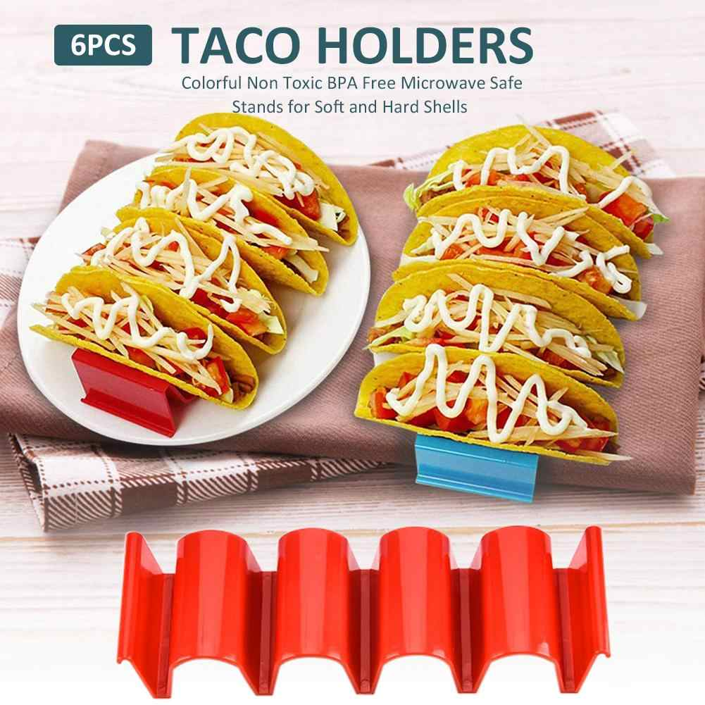 6pcs Taco Holder Stand Colorful Taco Rack Holding Plate Making Taco Kitchen
