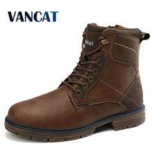 Мужские кожаные ботинки на шнуровке, Черные ботильоны на резиновой подошве, водонепроницаемая мотоциклетная обувь, размер 47, для осени и зи...