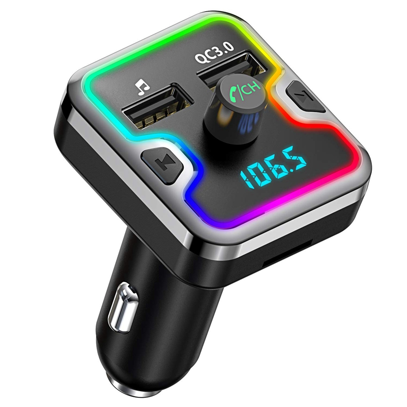Car Bluetooth Fm Transmitter 7 Colors Led Backlit Bluetooth Car Adapter with Hands Free Calling Qc3.0 Car Charger Support Usb Di|Car Monitors| |  - title=