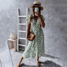 Women V-neck Short Sleeve Floral Print Midi Dress Summer Fashion Short Sleeve Plus Size Slim Waist Lace-up A-line Long Dresses
