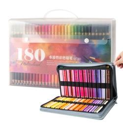 180 لون خشبي مجموعة رسم 2B ألوان مائية قلم رصاص لوازم الفن المهنية أقلام النفط الملونة اللوحة القرطاسية المدرسية هدية