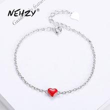 NEHZY 925 braccialetto gioielli in argento sterling di alta qualità della donna di modo retro a forma di cuore rosso lunghezza del bracciale 20 CENTIMETRI