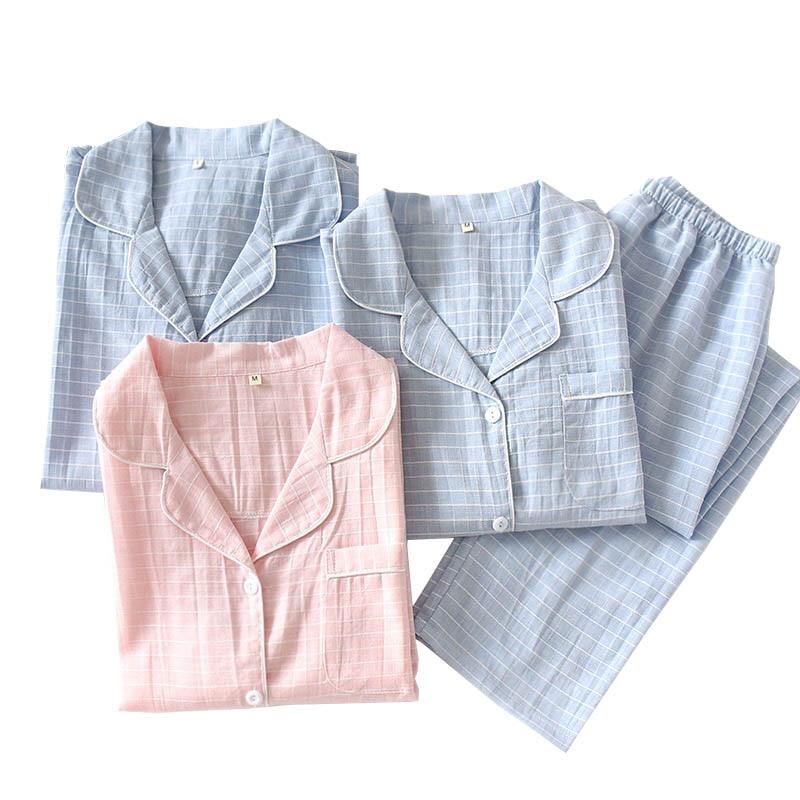 Spring New Couples Simple Style Pajamas Set Men And Women Striped Sleepwear Set Full Sleeve Lovers 2Pcs  Gauze Cotton Homewear