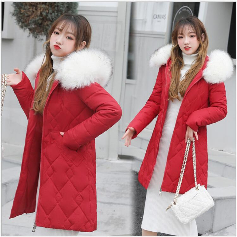 winter jacket women 2019 women   Parkas   5 Colors cotton padded female coats warm Outwear With a Hood Large Faux Fur Collar 328