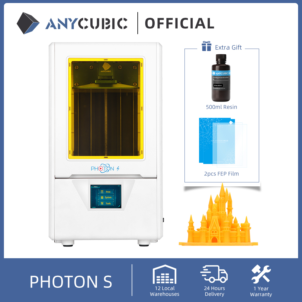 ANYCUBIC 3D Printer Photon S Dual Zaxis Mini Resin Printer 405nm Matrix UV Module SLA 3d Printer Upgraded Impresora 3d