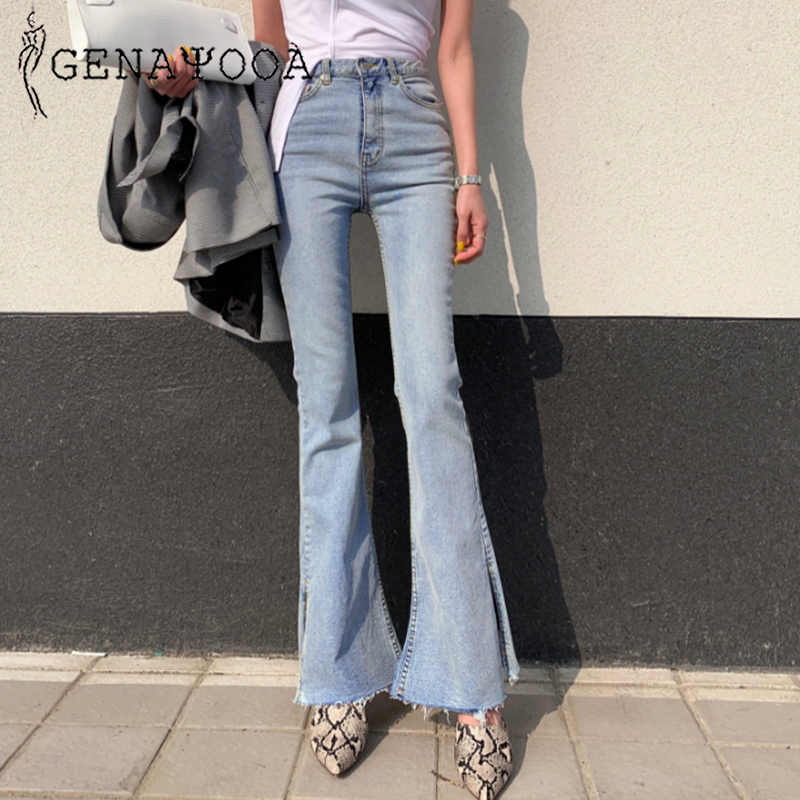 Genayooa Skinny Jeans Woman Push Up 2019 Blue Women's Jeans High Waist Pants Sexy Streetwear Flare Pants Korean Autumn Winter