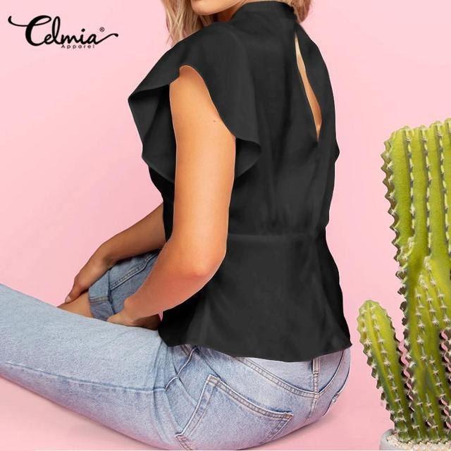 2020 Summer Celmia Women Solid Blouses Casual Short Ruffles Sleeve OL Tops Ladies Elegant Shirt Plus Size Back Zipper Blusas 5XL 4